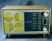 Vintage Radio Olive Green Zenith 1960's Op Art Design