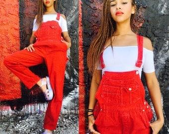 Red Vintage Overalls