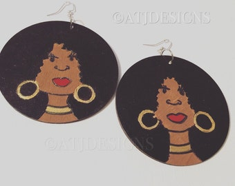 Curly Afro Earrings