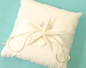 Beach Wedding Ring Bearer White Linen Pillow with Starfish and Mother of Pearl - Choose from Seven Satin Ribbon Colors