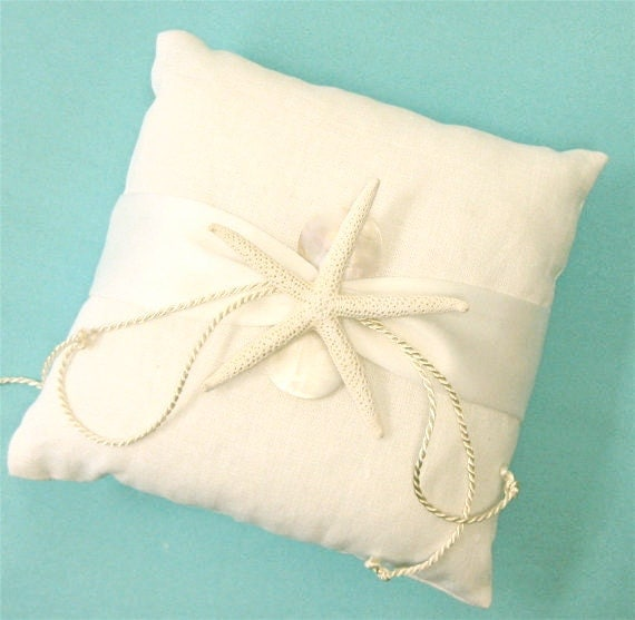 Beach Wedding Ring Bearer White Linen Pillow With Starfish And