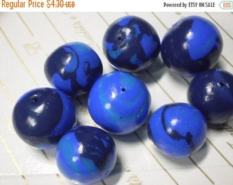 50% OFF - sale.sale.sale - RAINY DAY Balls - 8 Polymer Clay Beads