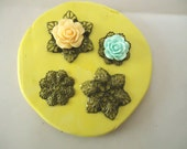 Set of 4 Flower Filigree  Designs Food Grade Silicone Molds 3-D