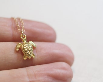 Tiny Turtle Necklace | Gold Turtle Necklace
