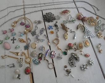Vintage Earrings Pins Rhinestone lot of 73