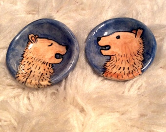 Bear Duo in Blue -- Set of Hand Painted Pinch Pots by Lora Shelley