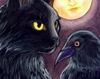 Black Cat Crow and Mother Moon Folk Art ACEO Archival Print of my Original Painting EBSQ