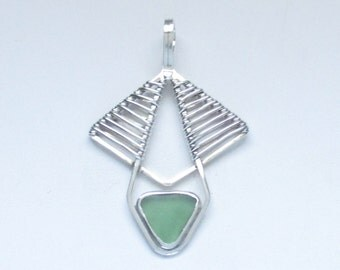 Sea Glass Jewelry - Sterling Weaved Green Sea Glass Pendant