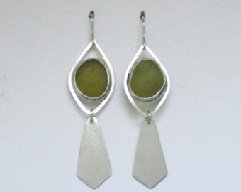 Sea Glass Jewelry - Sterling Olive Green Sea Glass Earrings