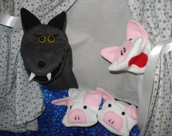 Deluxe  complete set Doorway Puppet Theater and Big Bad Wolf Hand Puppet & 3 Little Pigs Sock Puppets