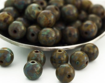 40 - 6mm Round Picasso Opaque Olive Czech Beads - 100% Guarantee