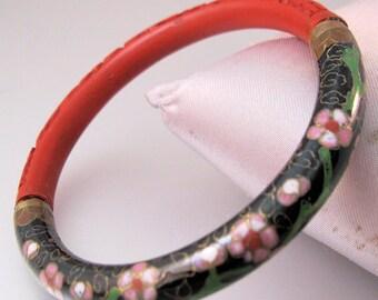 Vintage Oriental Cinnabar & Cloisonne Bangle Bracelet Jewelry Jewellery