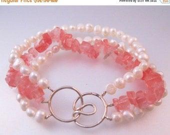 10% OFF SALE Vintage Fresh Water Pearl Rose Quartz Sterling Bracelet Triple Strand Jewelry Jewellery