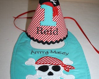 pirate first birthday outfit boy, pirate theme 1st birthday, cake smash outfit, 1st birthday hat, bib, red, teal, black