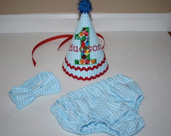 baby boys cake smash outfit, first birthday party outfit, baby blue gingham check with primary color dot, 1st birthday, red, green, yellow