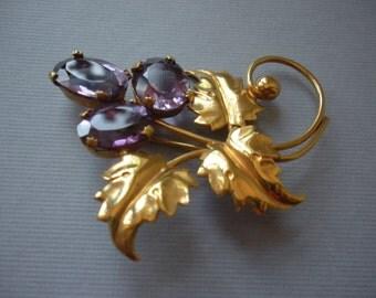 Sorrento Brooch Purple Stones