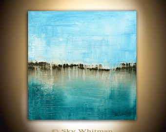 Square Painting Original Abstract Art Modern Textured Oil Painting Blue Gloss Abstract by Sky Whitman