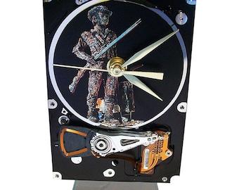 "Hard Drive Clock with Computer Parts ""Minuteman"" Dial. Feeling Patriotic? Geek Clock, Unique Clock, Computer Clock. Got Office Gift Clock?"