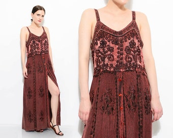 90s Brown Embroidered Grunge Sundress India Boho Gypsy Button Up Spaghetti Strap Maxi Dress Small Medium S M