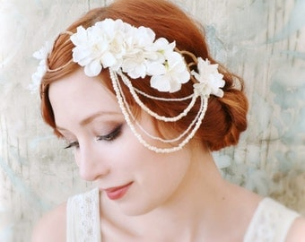 White flower headpiece, bridal hair crown, wedding hair wreath, boho bridal crown, flower halo, hair accessories by gardens of whimsy