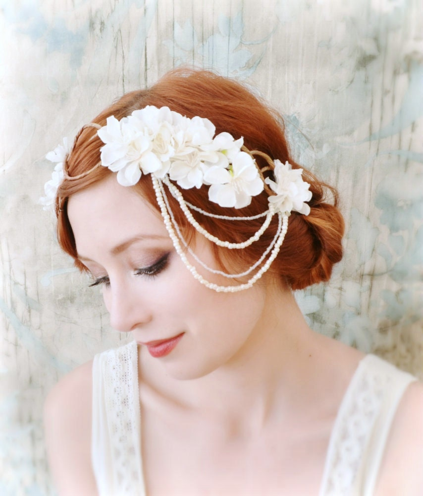 Wedding Hairstyle Crown: White Flower Headpiece Bridal Hair Crown Wedding Hair