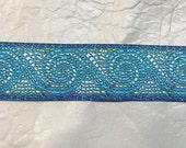 Mosaic Waves Jacquard Trim Turquoise Blue Green