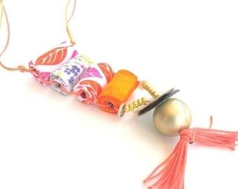 LetsPartySale Long colorful fun necklace, fun fashion necklace, fun jewelry, cool fiber jewelry