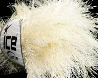 Ecru Long Eyelash Yarn - 38Yd Ivory, Off-White White Extra Long Eyelash Yarn Ice Luxurious Ecru Fun Fur 42069 - New Shade in Extra Long Fur!