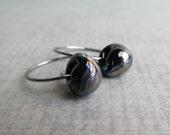 Black Swirl Hoops, Small Black Hoop Earrings, Dark Silver Wire Earrings, Iridescent Black Earrings, Oxidized Sterling Silver Earrings