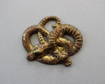Unusual Oxidized Brass Art Deco Double Snake Stamping