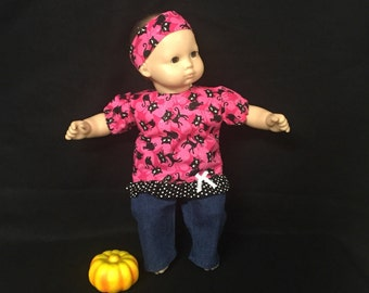 Doll Clothes for Bitty Baby or Bitty Twin Girl Doll or Most Other 15 Inch Dolls My Pretty Kitty Sparkle Outfit