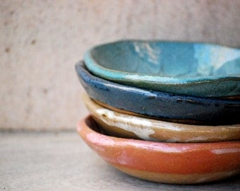 Ceramic bowl, set of four pottery  prep bowls, House warming gift, rustic kitchen