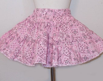 Bandana Print Cowgirl Ruffled Twirly Square Dance Skirt Infants 12m, Toddlers and Girl's to Size 16