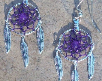 ON SALE Purple Dreams ll Purple and silver Dream catcher earrings with Amethyst- in silver or gold