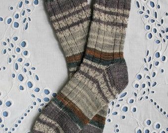 Hand Knit Socks Women Medium Size, Blue Grey Mauve, Superwash Opal Wool Yarn