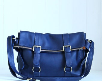 Leather Messenger Bag / Women Messenger Bag / Navy Leather Satchel