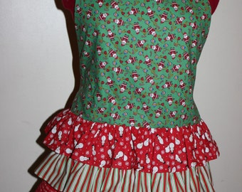 Adorable Christmas Theme Ruffled Apron.  Christmas Party or Gift for your favorite Cook!  Santa!