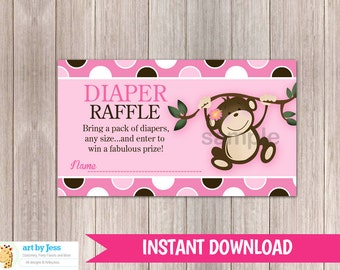 Girl Monkey Baby Shower Diaper Raffle Cards | Printable PDF file INSTANT DOWNLOAD bs-077
