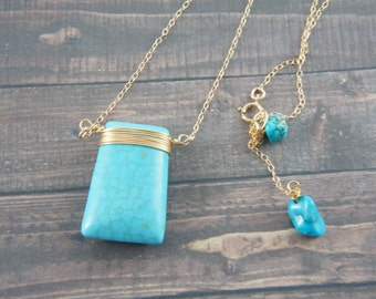 Trapezoid shaped dyed magnasite necklace, Turquoise color stone necklace, 14K gold filled chain, summer, vacation, wedding, bridesmaid