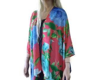 Red floral Kimono-Chiffon kimono with bold floral pattern--Lagenlook style-Kimono cardigan -  Chiffon summer collection