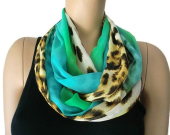 Chiffon infinity scarf,River safari,Leopard/animal print ,Greens,blue and animal print chiffon infinity Scarf/ cowl Instant gratification