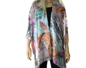 Kimono cardigan -Pastel Abstract-oversize chiffon kimono- summer collection-Gray pink orange aqua white