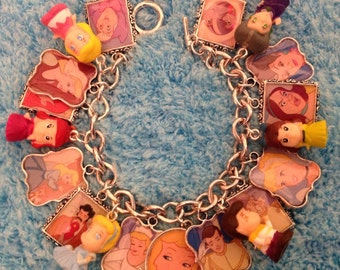 Disney's Cinderella and Squinkies Altered Art Upcycled Charm Bracelet