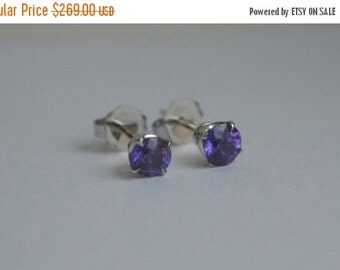 SALE 4mm Ceylon Sapphire Studs Set in 14 K White Gold Scroll Setting