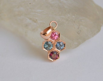Rose Gold Hexagon Pendant, august birthstone pendant, spinel pendant, colored gemstone pendant, rose gold hexagon necklace, gifts for moms