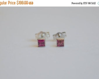 SPECIALS Grape Purple Sapphire Studs in 14 K White Gold Princess Bezels