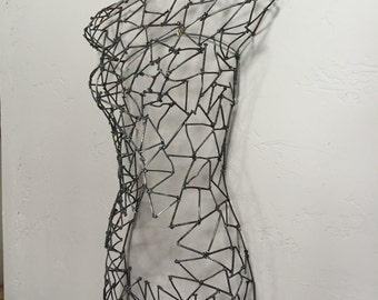 Metal Female Torso Made From Recycled Pallet Wood Nails, Eve, Mother of All Living