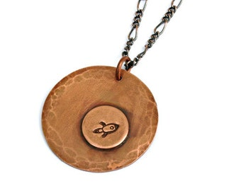 Rocket Soldered Copper and Brass Necklace with 18 inch Antiqued Copper Chain, Handcrafted, Gift for Her