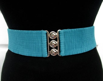 Vintage Turquoise Elastic Wide Cinch Belt M