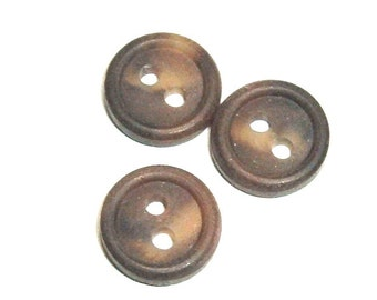 Small Brown Buttons Destash 2 Hole Set of 116